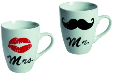 Mr und Mrs, 2-er Set Tassen