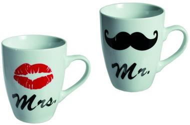 Mr und Mrs, 2-er Set Tassen