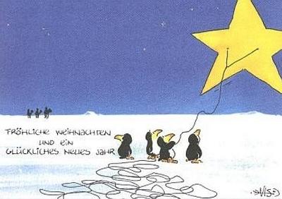 Fröhliche Weihnachten und ein glückliches neues Jahr (Pinguine mit Sterndrachen)