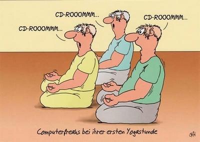 CD-ROOOMMM Computerfreaks bei ihrer ersten Yogastunde