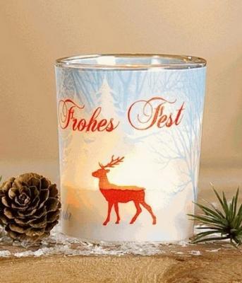 Teelicht Glas Frohes Fest