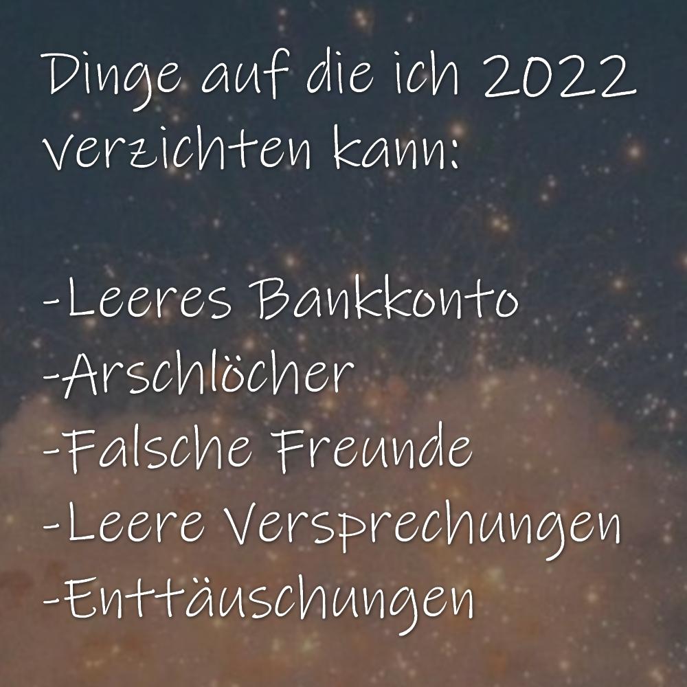Dinge auf die ich 2022 verzichten kann: -Leeres Bankkonto -Arschlöcher -Falsche Freunde -Leere Versprechungen -Enttäuschungen